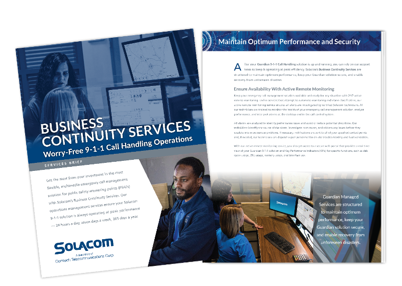 Business Continuity Services, a Solacom product brief
