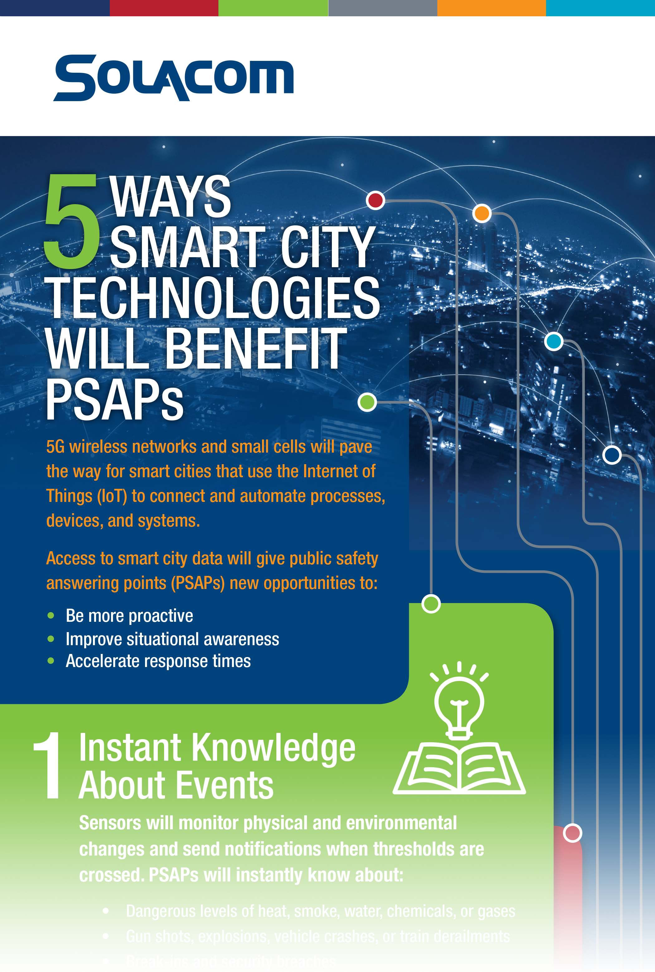 5 Ways Smart City Technologies Will Benefit PSAPs, a Solacom infographic